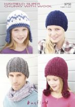 Hayfield Super Chunky with Wool - 9750 Hats and Helmet Knitting Pattern